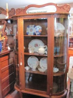 Antique Oak Glass China Cabinet Bowed Glass Sides