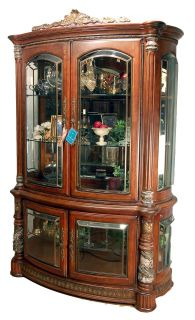 Cherry Finish Glass China Display Cabinet Buffet Hutch