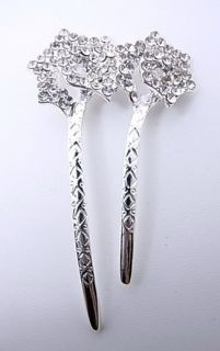 Silver Clear Flower Swarovski Crystal Hair Pin Stick Fork Bridal