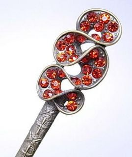 Bronze Clear Royal Red Swarovski Crystal Hair Pin Stick Fork