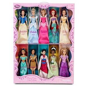 rare disney princess classic film doll collection 10 pc mint in box