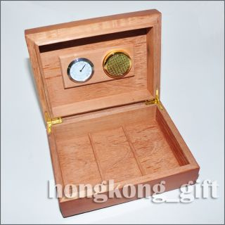 Cigar Case Humidor Wooden Wood Box Humidity Gauge Hygrometer