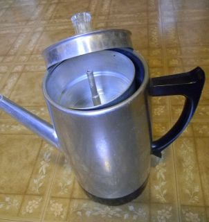 Vintage 60s Coffee Pot 9 Cup Aluminum Electric Percolator West Bend