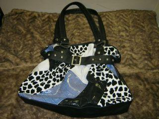 Cool Claires Black Patchwork Animal Printed and Stud Shoulder Bag