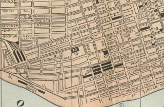 Cincinnati Street Map Authentic 1892 w/ Landmarks, RRs, Depots, Horse