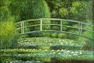 Claude Monet Bridge Over Water Lily Pond Reproduction Hand Painted Oil