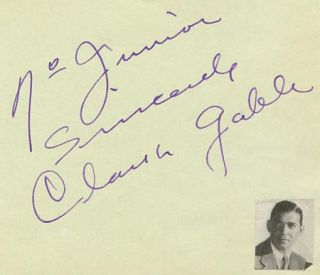 Clark Gable Vintage 1930s Signed Album Page Autographed Gone with The