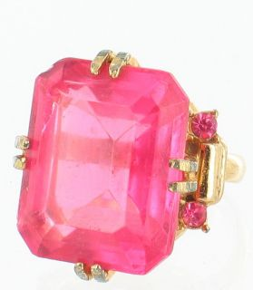 Vintage Big Hot Pink Cushion Cut Glass Stone RS Adjustable Ring Huge