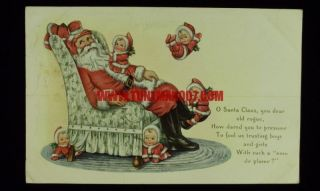 Enhanced Whitney Made Postcard Embossed Santa Claus Vtg Christmas