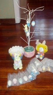Easter tree with ornaments new in box home interior glass egg dish and