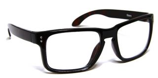 Glossy Dark Brown Tortoise Curved Frame Clear Lens Eyeglasses