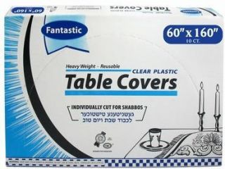 60x160 Disposable Clear Plastic Table Covers Individually Precut Bulk