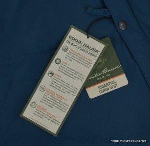 New Eddie Bauer Mens Essential Down Vest Jacket Size L Large Blue