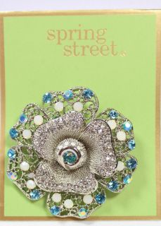 Spring Street Silver Tone Blue Clear White Crystal Flower Pin Brooch $