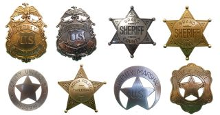 AMERICAN CIVIL WAR OLD WEST WESTERN LAWMAN BADGE SET SHERIFF