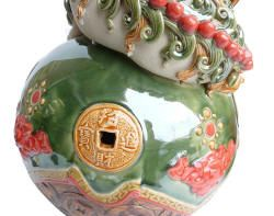 Gorgeous Pair Chinese Colorful Carved Clay Drum Stand Lucky Foo Dogs