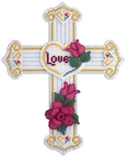 Design Works Plastic Canvas Kit Wall Decor 14 x 17 Rose Cross 1804