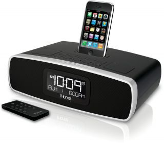 ilive clock radio alarm and dock for ipod and iphone purple. Black Bedroom Furniture Sets. Home Design Ideas