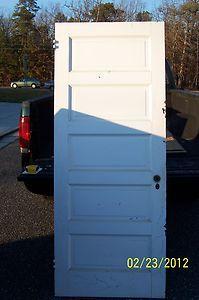 Antique Vintage 5 Panel Interior Door Raised Panels 34 x 82