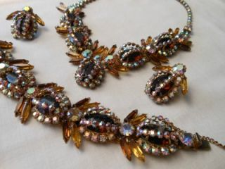 Juliana Amber Aurora Borealis Rhinestone Cluster Necklace Set