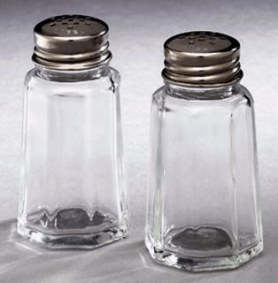 Salt Pepper Shaker Set 1 5oz Commercial Quality Clear Glass Stainless