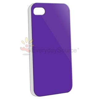 Purple+White+Blue+Yellow w/ Clear Side Hard Case Cover For iPhone 4 4S