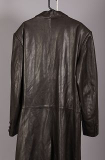 Brown Jean Claude Jitrois Long Lambskin Leather Trench Coat Sz 52 Tall