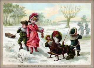 Christmas Victorian Children REPRO GREETING CARD Sleds Sleigh Snow