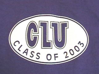 RARE CLU CLASS OF 2003 PURPLE T SHIRT CALIFORNIA LUTHERAN UNIVERSITY