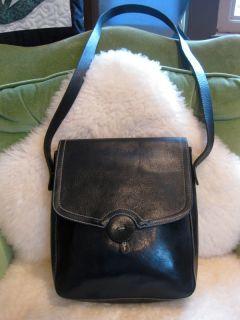 Christopher Kon Black Leather Cross Body Field Shoulder Messenger Bag
