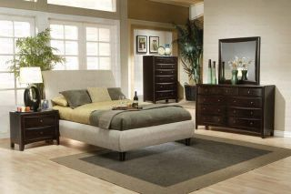 Phoenix Queen Bedroom Set Upholstered Beige Fabric Wrapped Cappuccino