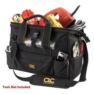 clc toolworks 16 tool tote bag w top plastic tray includes 16 tote bag