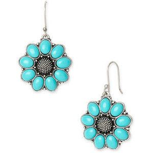 Lucky Brand Jewelry Turquoise Flower Cluster Earrings