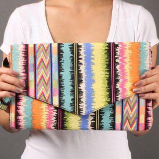 Multi Tribal Pattern Unique Women Fashion Designer Envelope Clutch Bag