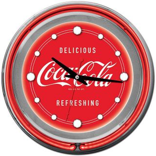 Coca Cola Logo 14 inch Double Ring Neon Clock Refreshing and Delicious