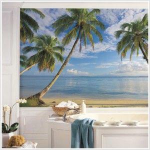 New XL Beach Wallpaper Mural Palm Trees Wall Murals Tropical Decor