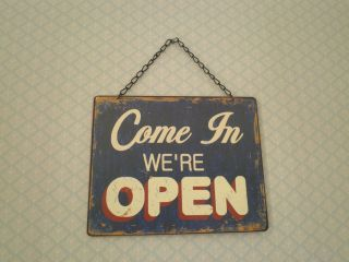 Open Closed tin sign Vintage chic Shabby home plaque shop display