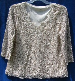 Coldwater Creek Coffee N Cream Rose Lace Knit Blouse