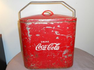 Vintage Original Coca Cola Cooler Ice Chest Picnic 6 Pack