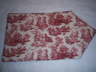 40 Coffee Table Bar Dresser Runner Jamestown Toile Burgundy Deep Red