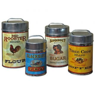 Tin Vintage Flour, Sugar, Coffee, Tea Canisters Set of 4 Home Kitchen