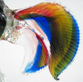 Vintage Murano Art Glass Cock Rooster Figurine Italy