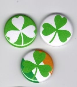 Shamrock Badge Button Pin Lot Irish Clover