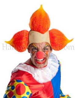 Evil Clown Wig Latex Headpiece Orange Yellow Flame Hair