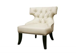 Tasya Off White Leather Modern Club Chair Contemporary