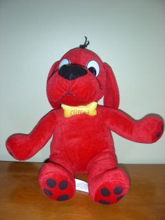 14 Clifford The Big Red Dog Plush Toy w Bone Bow Tie Scholastic 2005