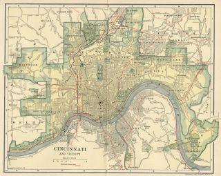 Cincinnati & Suburbs Map Authentic 1907 (Dated) Landmarks, Stations