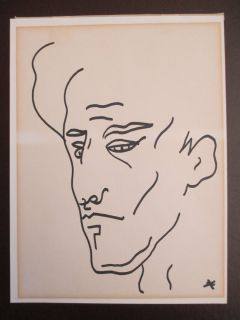 JEAN COCTEAU RARE ORIGINAL INK DRAWING VINTAGE MID CENTURY MALE