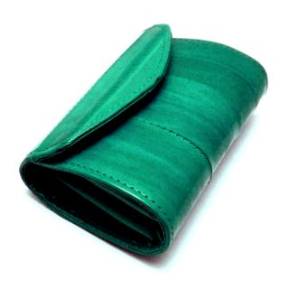 genuine eel skin leather small coin purse case dark teal