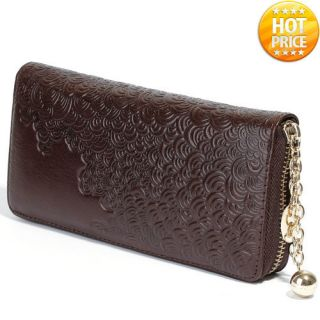Charm Zip Genuine Leather Women Wallets Clutch Purse Cards Coin